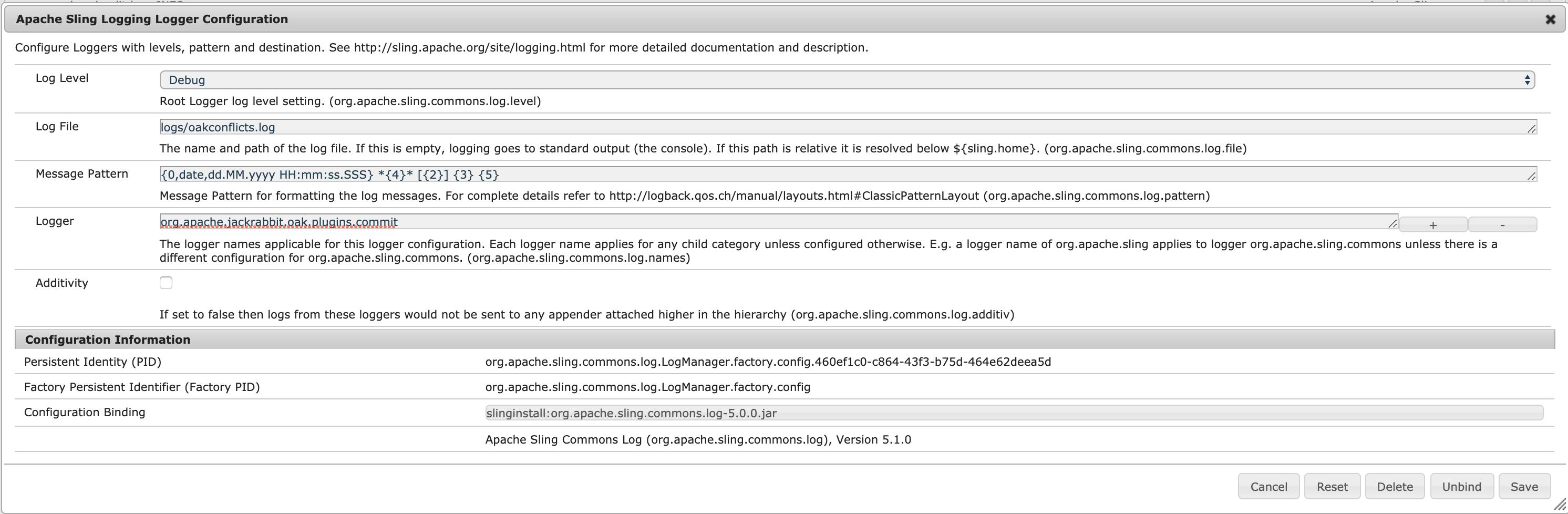 Apache Sling Logging Logger Configurations
