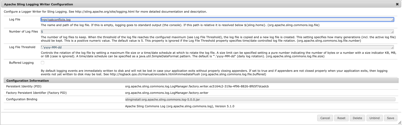 Apache Sling Logging Writer Configuration