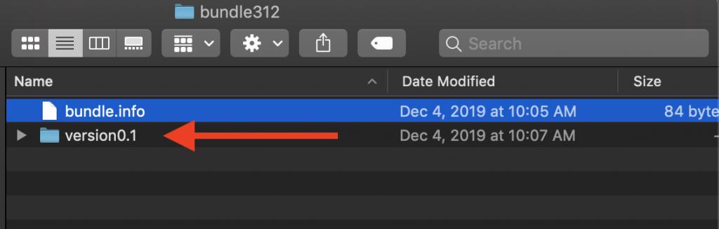 Bundle info sibling folder named version 0 dot 1