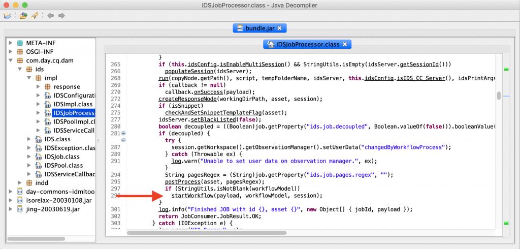 IDS Job Processing highlighting the start workflow method