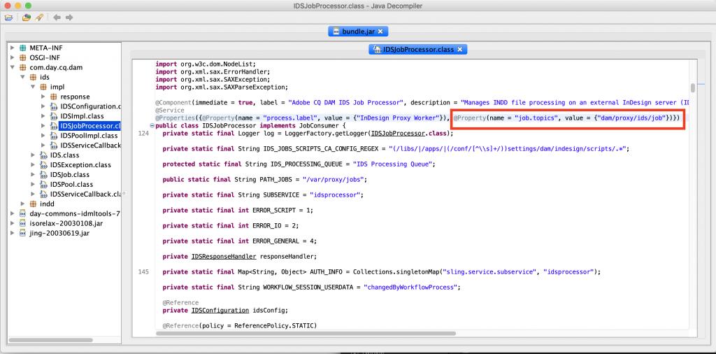 JD Gui IDS Job Processor decompiled highlighting the job.topics setting as dam/proxy/ids/job
